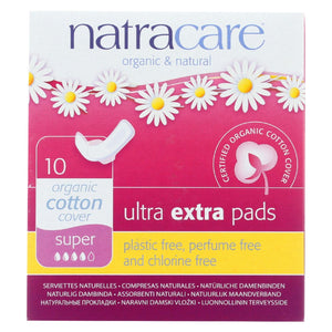 Natracare  Ultra Extra Pads W-wings - Super - 10 Count
