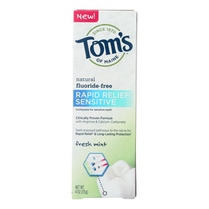 Tom's Of Maine Rapid Relief Sensitive Toothpaste - Fresh Mint Fluoride-free - Case Of 6 - 4 Oz.