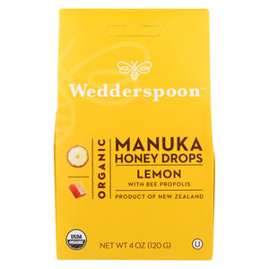 Wedderspoon Drops - Organic - Manuka - 15+ - Lemon - 4 Oz