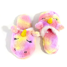 Load image into Gallery viewer, Millffy Stuffed Animal Rainbow Unicorn Plush Slippers Bedroom Slippers for Adult
