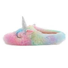 Load image into Gallery viewer, Millffy Fluffy Rainbow Unicorn Slippers cozy comfy Slippers Unicorn Gifts for Girls