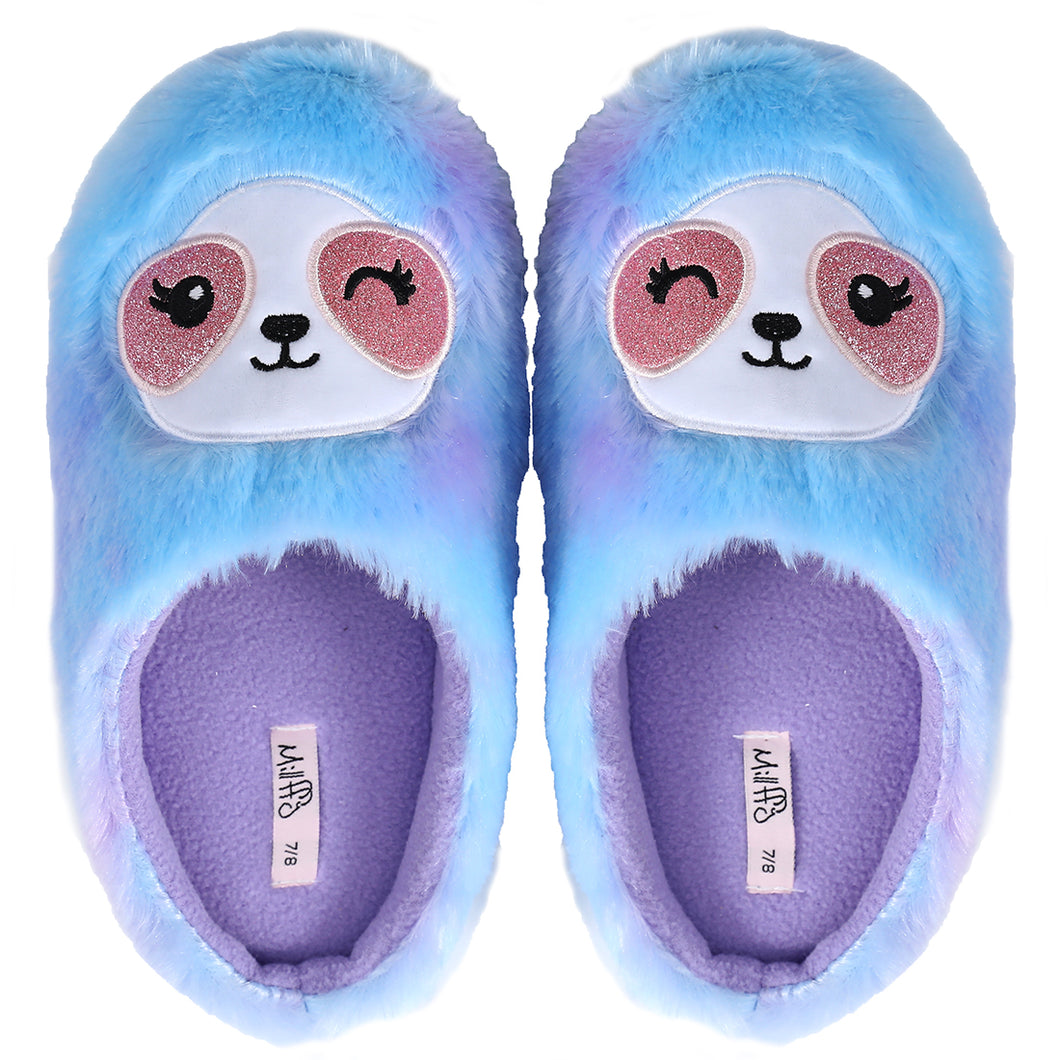 Plush Soft Fuzzy Animal Slippers Womens Slippers Rainbow Sloth Foot Pals for Kids, Cozy Children's Slippers