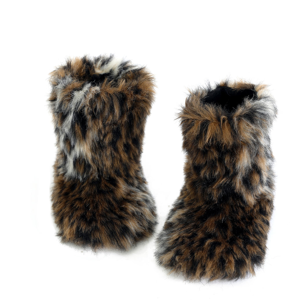 Winter Warm Women's Faux Fur Bootie Slippers Fuzzy Comfy Plush Boots Anti-Slip Indoor House Shoes