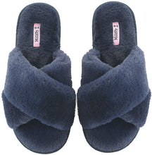 Load image into Gallery viewer, Millffy Spring Summer Women's SPA cozy comfy cross band Fur Slippers