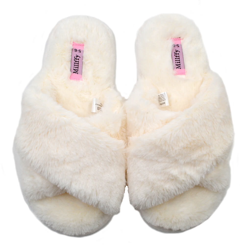 Millffy Spring Summer Women's SPA cozy comfy cross band Fur Slippers