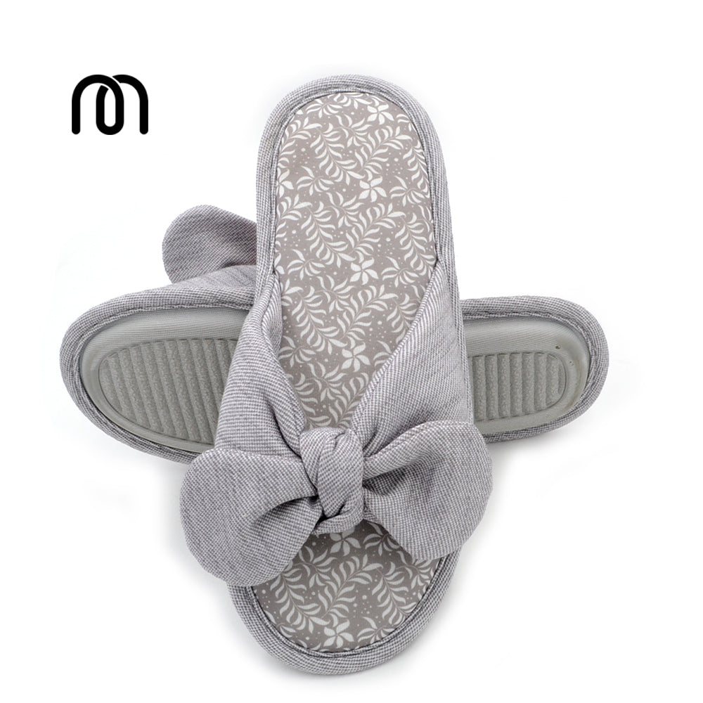 Millffy Cotton Bowknot Slippers Household Slippers Female Bowknot Breathable Cotton Antiskid Lady Indoor Slippers