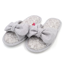 Load image into Gallery viewer, Millffy Cotton Bowknot Slippers Household Slippers Female Bowknot Breathable Cotton Antiskid Lady Indoor Slippers