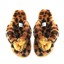Load image into Gallery viewer, Millffy Fashion Sheepskin Women's Slippers Fluffy Leopard Thong Slippers Home Slippers Bedroom Shoes Slides
