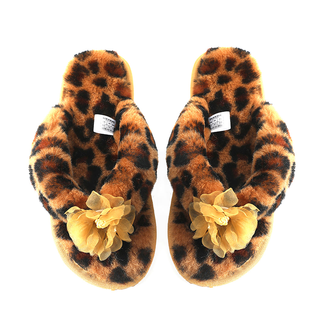 Millffy Fashion Sheepskin Women's Slippers Fluffy Leopard Thong Slippers Home Slippers Bedroom Shoes Slides