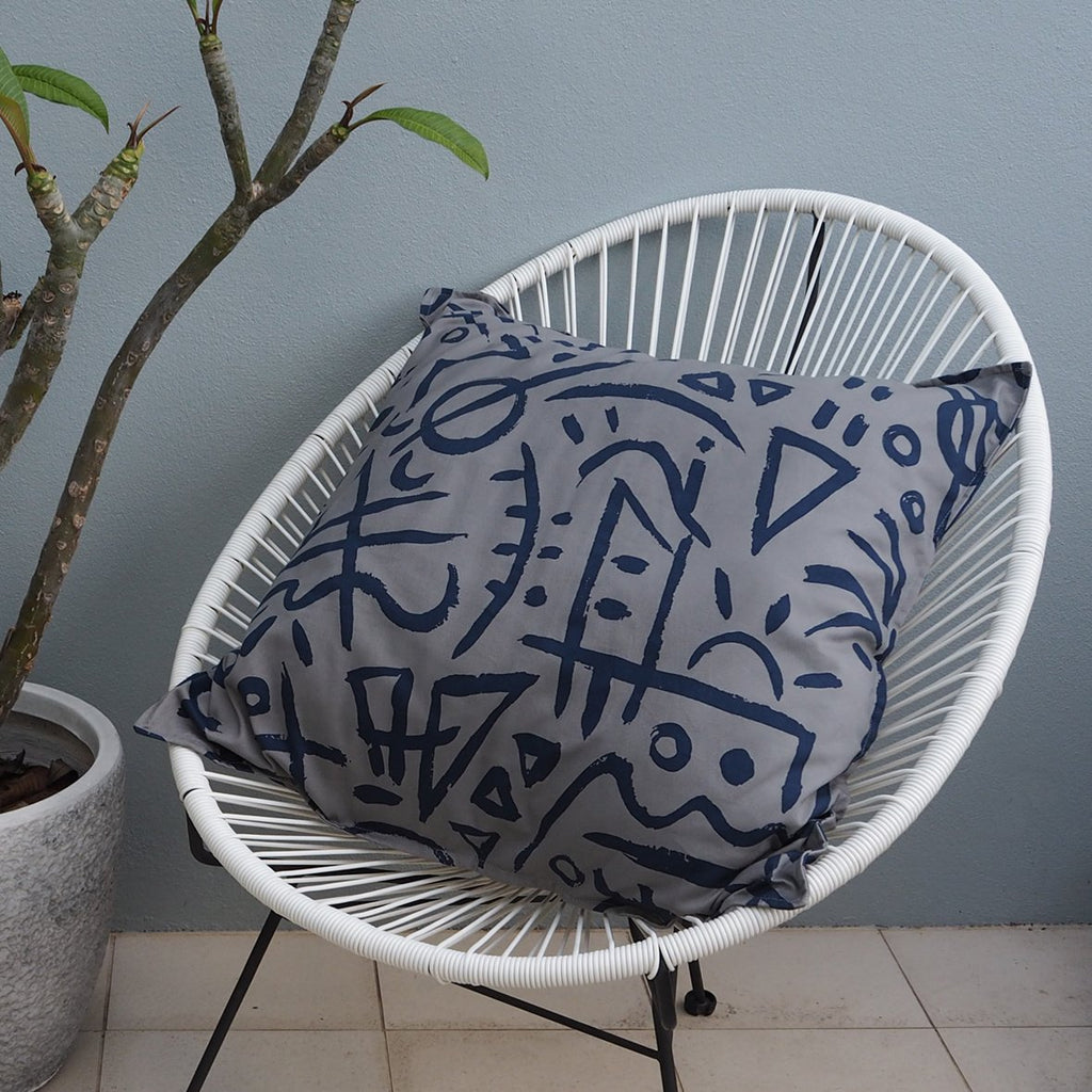 SALE - EURO CUSHION COVER - Blue Slate Print - Cotton