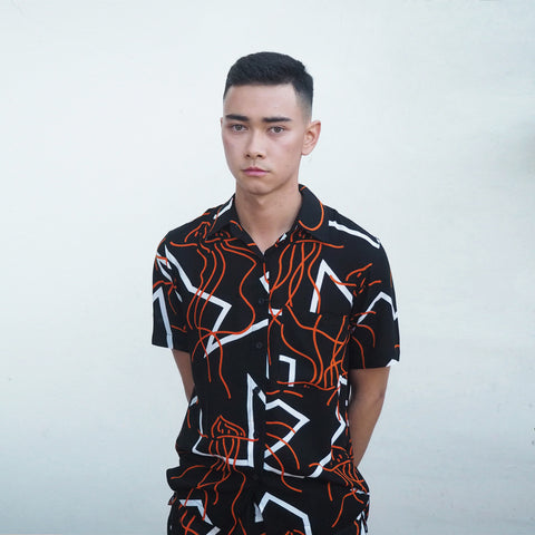 ! RESTOCKED ! CRUISE SHIRT - MANGO MAN O WAR Print - Cotton Voil