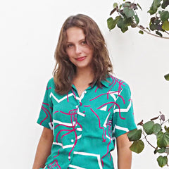 CRUISE SHIRT - MELON MAN O WAR Print - Cotton Voil
