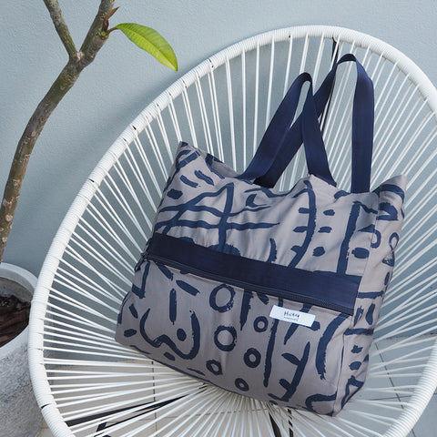 ! NEW ! Big Bag - BLUE SLATE Print - Cotton Canvas