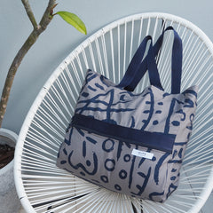 Big Bag - BLUE SLATE Print - Cotton Canvas