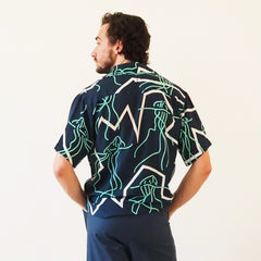 ! RESTOCKED ! CRUISE SHIRT - MAN O WAR Print - Cotton Voil