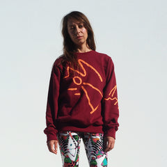 ! NEW ! Unisex Pindan Sweater - Burgundy Cotton Fleece