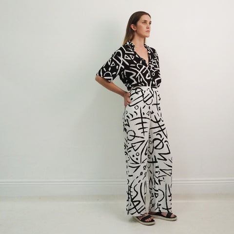 SALE - SIZE 6 or 14 - PARADING PANTS - UPTOWN Original Print - Rayon
