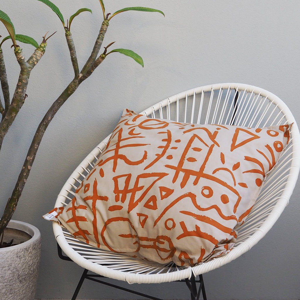 EURO CUSHION COVER - Pumpkin Print - Cotton