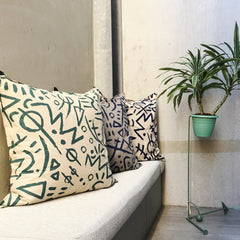EURO CUSHION COVER - Emerald on Stone Print - Cotton