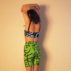 ! NEW ! Runners - Lime Verse 2 Print - Cotton Spandex