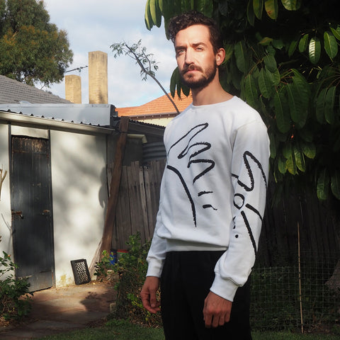 SALE - L or XL - Unisex Uptown Sweater - White Cotton Fleece
