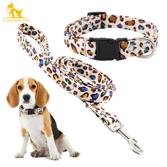 Cotton matching collar and leash set in animal print