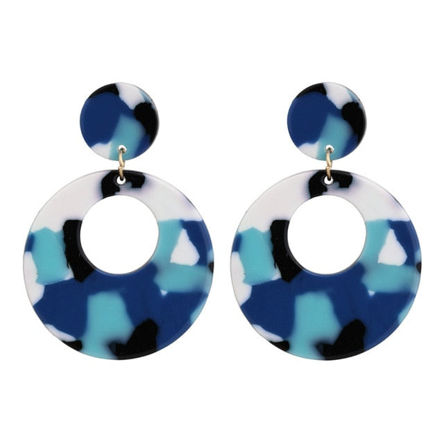'GEOMETRIC SAFARI' ROUND OCEAN DROP EARRINGS
