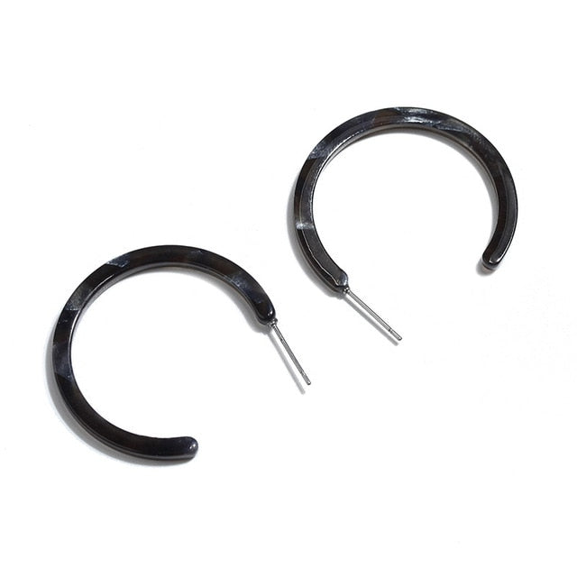 'GEOMETRIC SAFARI' DARK HOOP EARRINGS