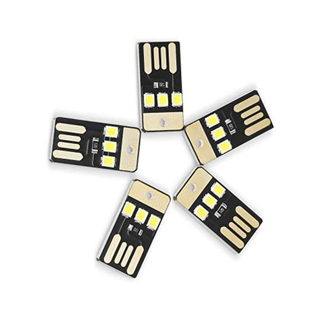 5Pcs Mini USB Power LED Light Night Power Bank Computer Ultra Low Power 2835 Chips Pocket Card Lamp