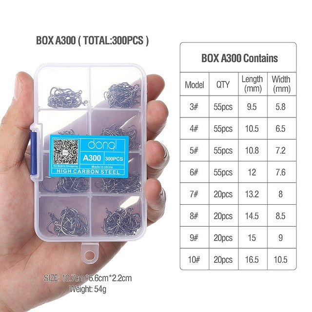 300pcs/Mixed Size Box High Carbon Steel Fishing hooks