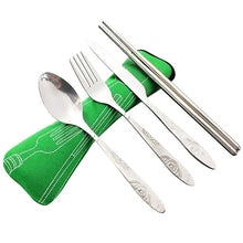Load image into Gallery viewer, 4 Pcs/Set Stainless Steel Fork Spoon Chopsticks Travel Camping Cutlery