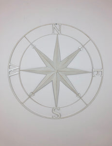 "White Compass Wall Decor 36"" (metal)"