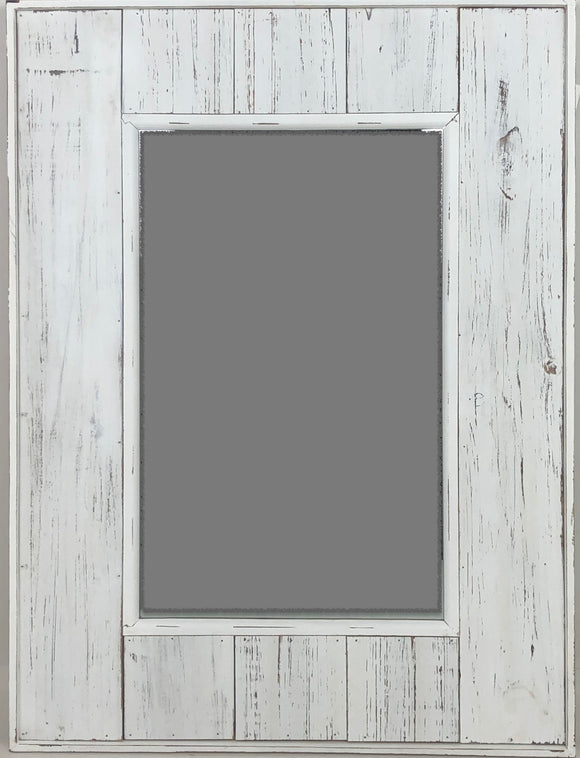 Distressed White Wood Slats 24x31 Mirror