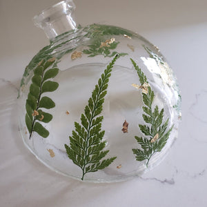 Fern Glass Decoupage Art Gold and Green