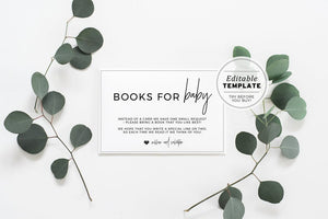 Juliette Minimalist 'Books for Baby' Baby Shower Invitation Insert Card Printable Template