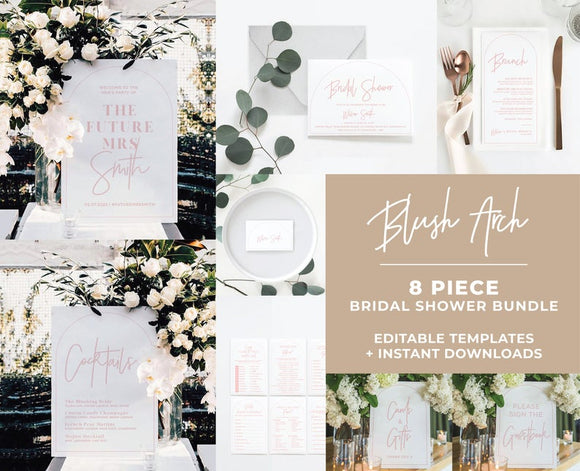 Blush Arch Wedding Bundle 8 piece set Printable Templates and ready to print downloads