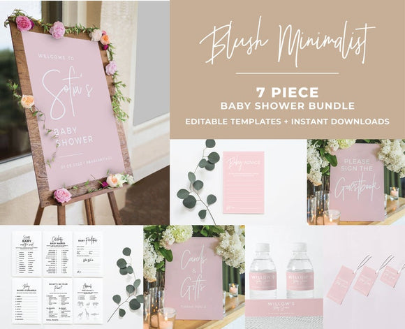 Blush Minimalist Baby Shower Bundle 7 Piece Set Printable Templates and ready to print downloads