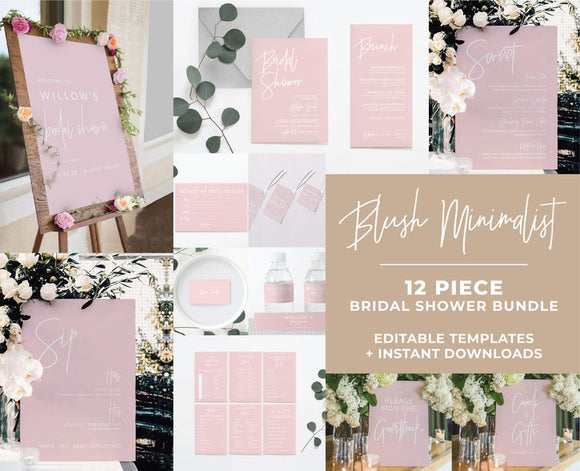Blush Minimalist Bridal Shower Bundle 12 piece set Printable Templates and ready to print downloads
