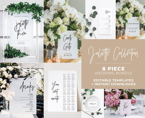 Juliette Minimalist Wedding Bundle 8 piece set Printable Templates and ready to print downloads