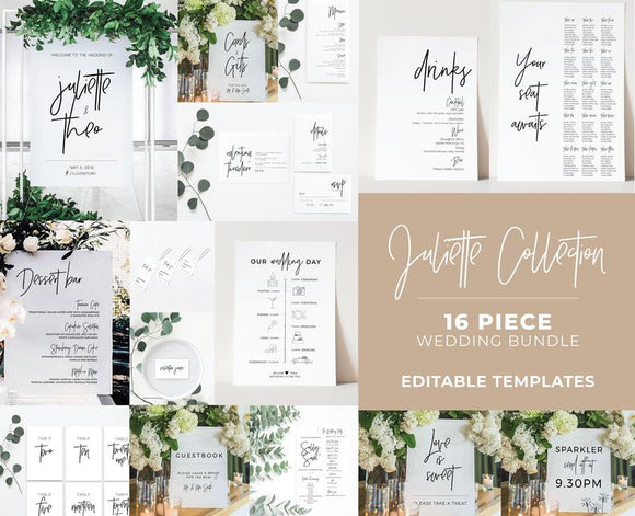 Juliette Minimalist Wedding Bundle 16 piece set Printable Templates and ready to print downloads