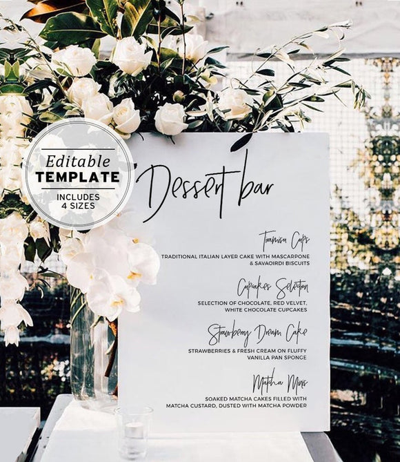 Juliette Dessert Bar Sign Printable Editable Template
