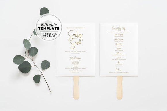 Juliette Minimalist Gold Printable Wedding Program Fan Editable Template