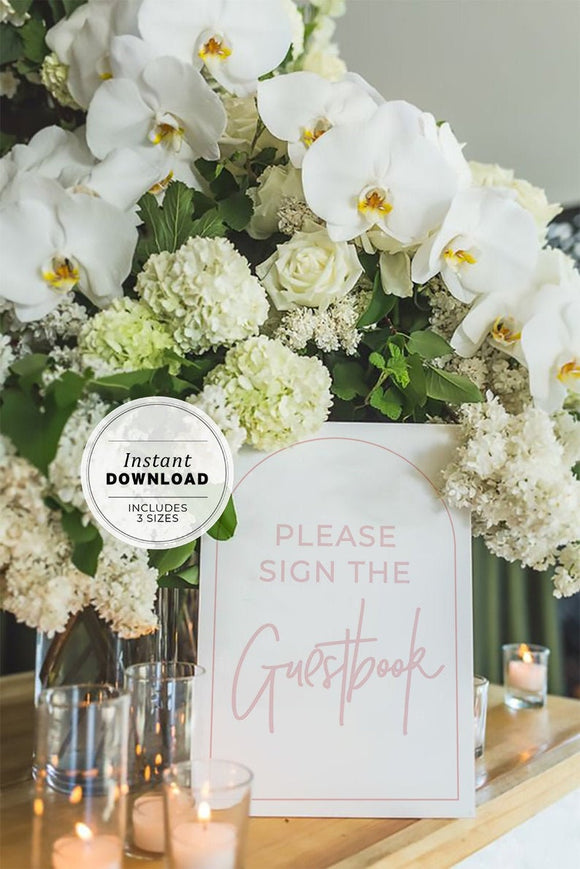 Blush Arch Minimalist 'Please sign the guestbook' Sign Printable Instant Download