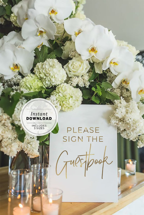 Juliette Gold Minimalist 'Please sign the guestbook' Wedding Sign Printable Instant Download