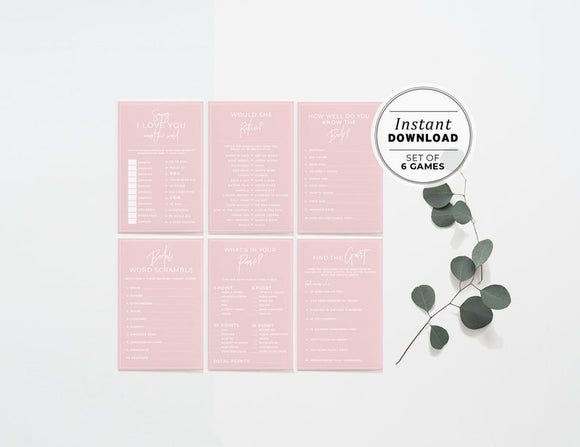 Blush Minimalist Bridal Shower, Hens Party Games - Set of 6 Printable Instant Download