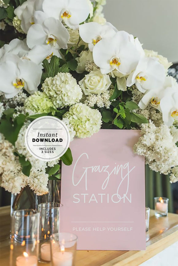 Blush Minimalist Grazing Station Sign Instant Download