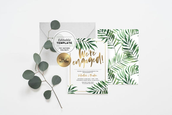 Tropical Palm Leaf 'We're Engaged' Invitation Printable Editable Template