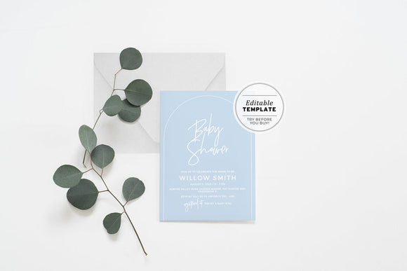 Powder Blue Baby Shower Invitation Printable Template