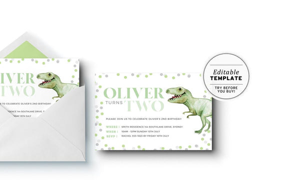 T-Rex Dinosaur Gender Neutral Birthday Party Invitation Printable Template