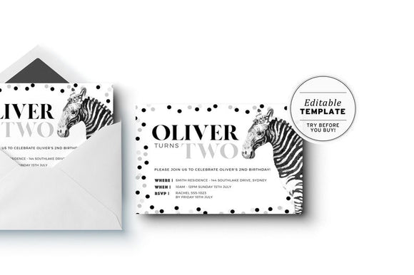 Party Animal Zebra Gender Neutral Birthday Party Invitation Printable Template